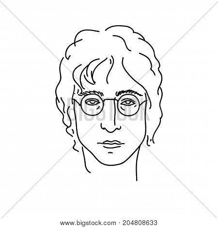 September 19, 2017: Creative portrait of John Lennon, musician from Beatles. Line art vector illustration.