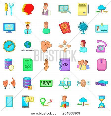 Message icons set. Cartoon style of 36 message vector icons for web isolated on white background