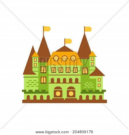 Green fairytale royal castle or palace building vector illustration isolated on a white background