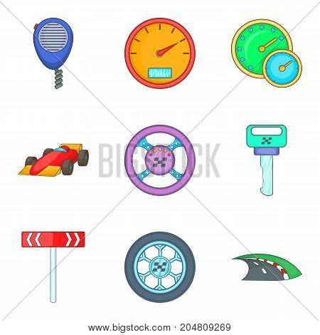 Over speed icons set. Cartoon set of 9 over speed vector icons for web isolated on white background
