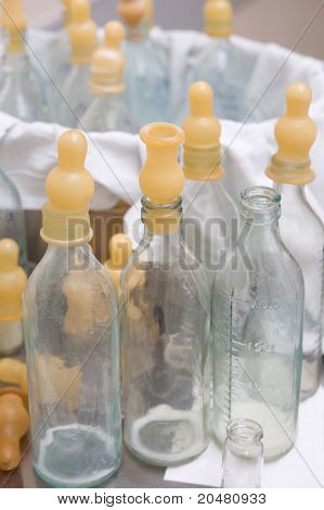 Bottles with nipples after feeding babies