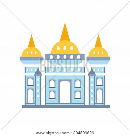 Fairytale royal castle with fortified wall and towers vector illustration isolated on a white background
