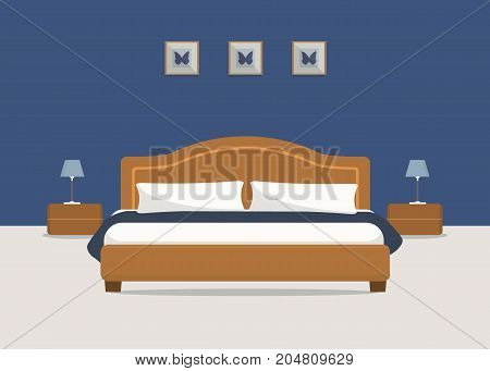 Bedroom in a blue color. There is a brown bed with pillows, bedside tables, lamps in the image. There are also pictures with butterfly on the wall. Vector flat illustration.