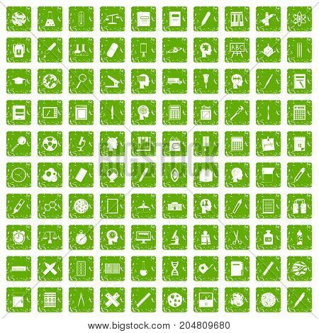 100 learning icons set in grunge style green color isolated on white background vector illustration