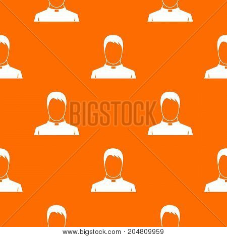 Priest pattern repeat seamless in orange color for any design. Vector geometric illustration