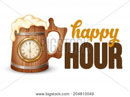 Happy Hour. Free beer. Vintage illustration template for web poster flyer invitation to party. Vector illustration isolated on white background.