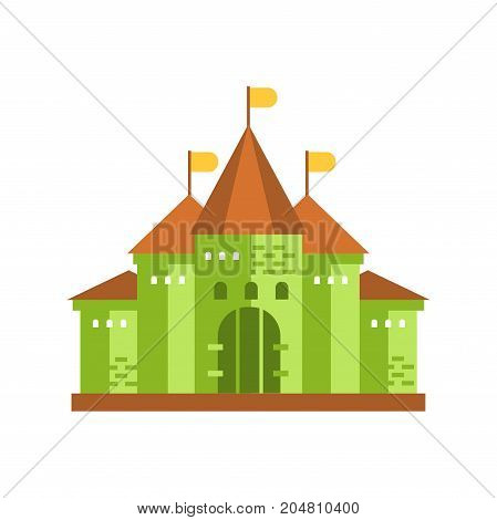 Green fairytale royal castle or palace building with brown roof vector illustration isolated on a white background