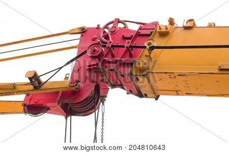 part of modern excavator machines isolated on white