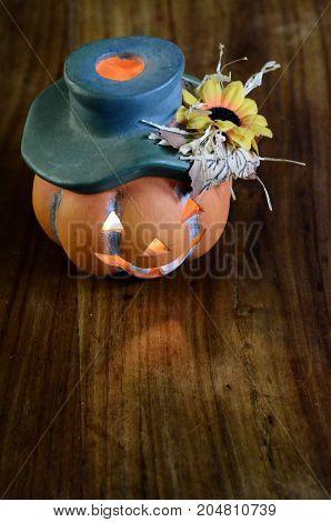 Halloween orange pumpkin with hat  for background