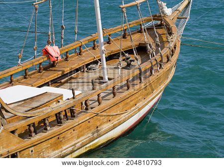 the big beautiful old wooden sailing vessel