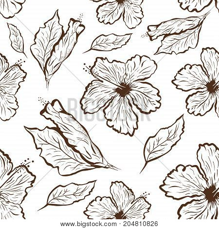 Seamless pattern of Hibiscus flower in tattoo style. Black and white, graphic tropical flowers