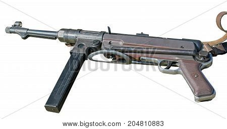German Mp40 submachine gun isolated on white background