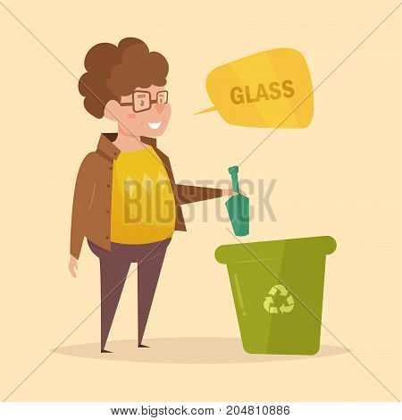 Glass. Separate sorting garbage. Vector. Cartoon. Isolated art on white background Flat
