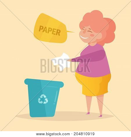 Paper. Separate sorting garbage. Vector. Cartoon. Isolated art on white background. Flat Woman