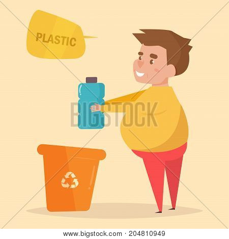 Plastic. Separate sorting garbage. Vector. Cartoon. Isolated art on white background. Flat. Man throws bottle