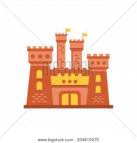 Fortress or stronghold with fortified wall and towers, medieval building vector illustration isolated on a white background