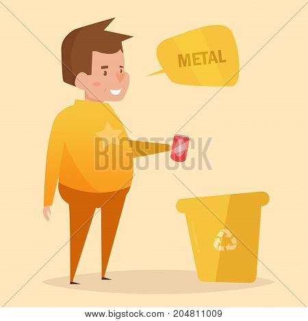 Metal. Separate sorting garbage. Vector. Cartoon. Isolated art on white background. Flat. The man throws the garbage can out of the drink.