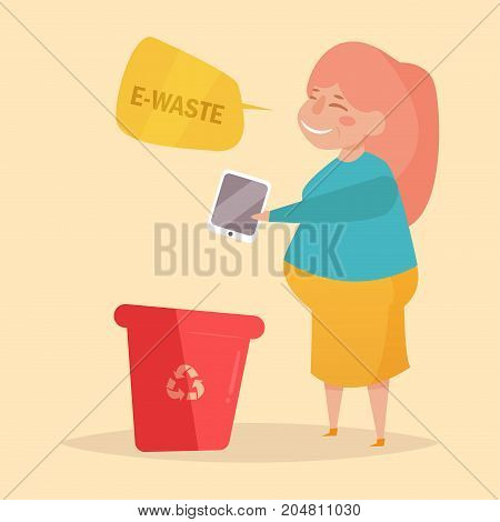 E-waste. Separate sorting garbage. Vector. Cartoon. Isolated art on white background. Flat. Woman throws in the trash the tablet.