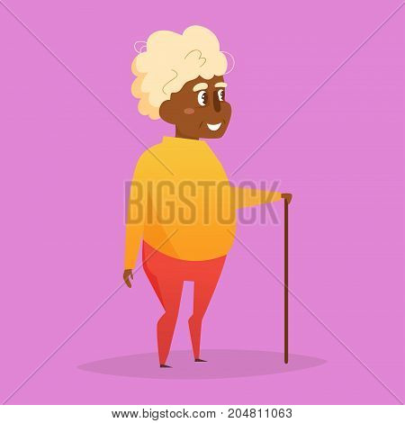 Grandfather with a cane. Vector. Cartoon. Isolated art on white background. Flat