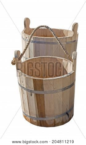 the big wooden bucket on white background