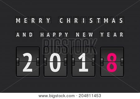 New year concept, analog counter 2018 for greating card and web sites