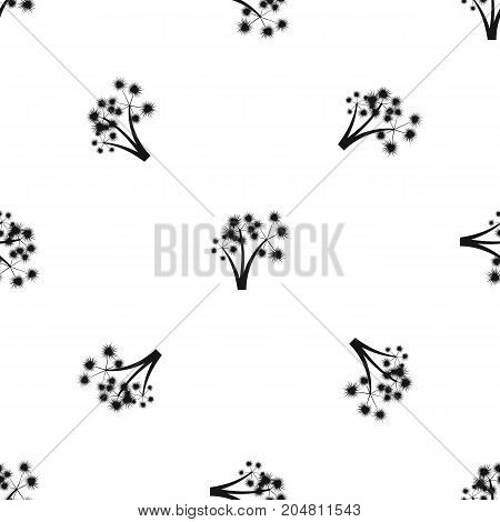 Three spiky palm trees pattern repeat seamless in black color for any design. Vector geometric illustration