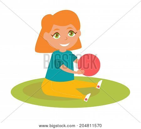 Girl with red ball. Vector. Cartoon. Isolated art on white background. Flat