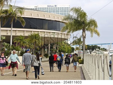 SAN DIEGO, CALIFORNIA, JUNE 11. Roy's San Diego Waterfront on June 11, 2017, in San Diego, California. A Downtown Waterfront Scene Near Roy's Restaurant at the Marriott Marquis San Diego Marina California.