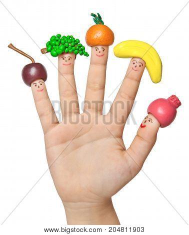 Funny men in fruit caps from clay's hand. Children's creativity.