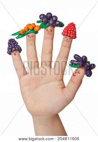 Funny men in berry caps from clay on the fingers.
