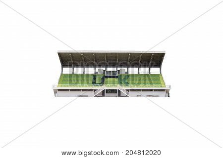Empty grandstand for sports cheer isolated on white background.