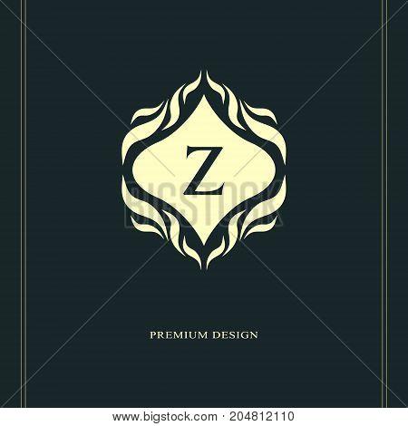Monogram design elements graceful template. Calligraphic elegant line art logo design. Letter emblem sign Z for Royalty business card Boutique Hotel Heraldic Jewelry. Vector illustration