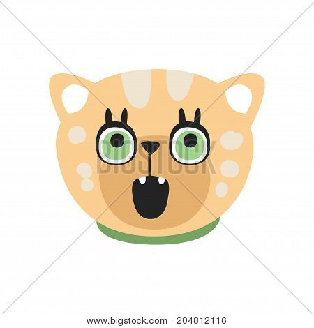 Cute curious kitten head, funny cartoon cat character, adorable domestic pet vector illustration isolated on a white background