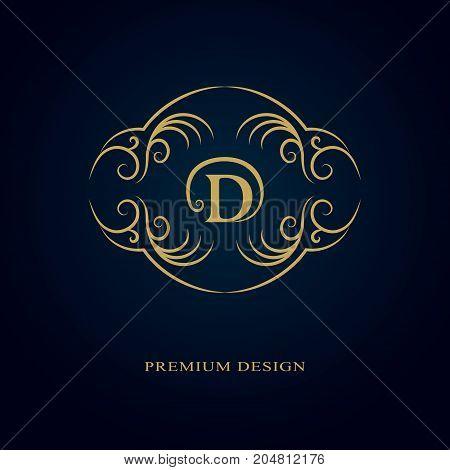 Monogram design elements graceful template. Calligraphic elegant line art logo design. Letter emblem sign D for Royalty business card Boutique Hotel Heraldic Jewelry. Vector illustration