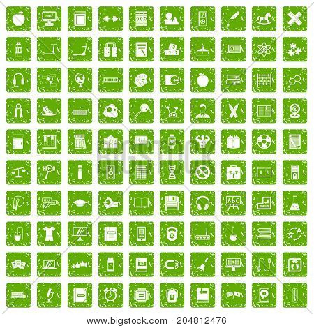 100 learning kids icons set in grunge style green color isolated on white background vector illustration