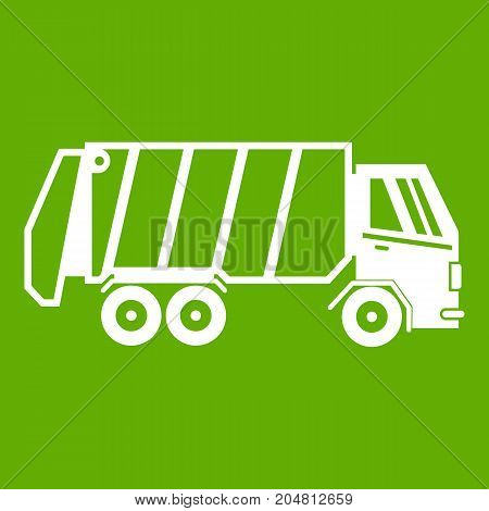Garbage truck icon white isolated on green background. Vector illustration