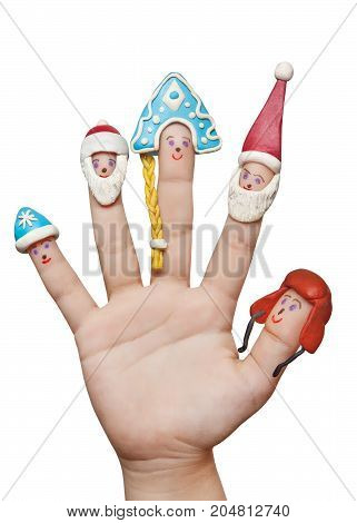 Fingers men winter hats of clay. Isolated on a white background.