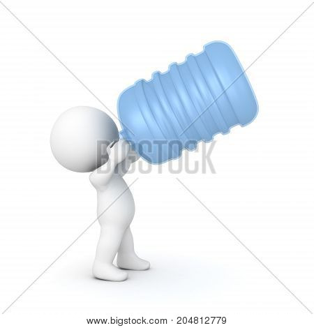 3D Character drinking out of a big water jug. Isolated on white.