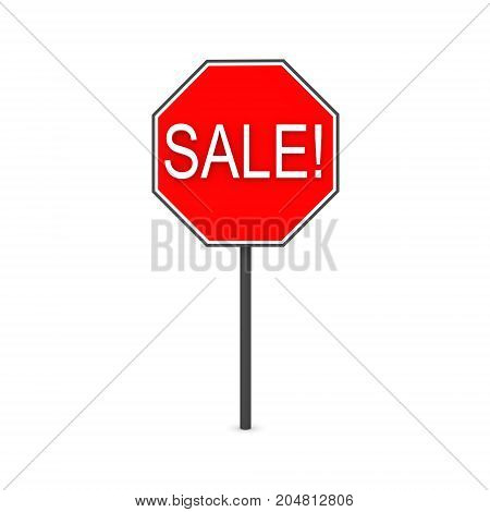 3D illustration of a red sign saying SALE. Isolated on white.