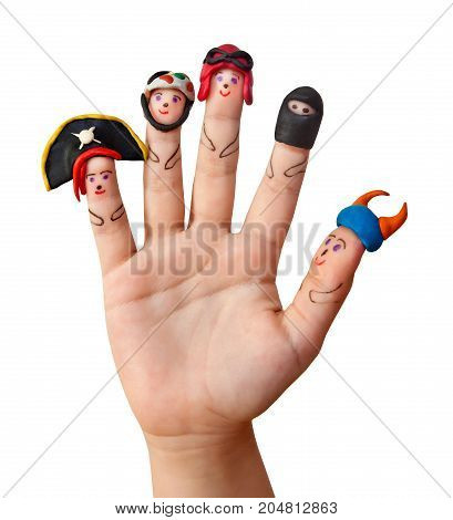 Fingers men with in men's hats out of clay. Isolated on a white background.