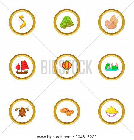 Attractions of Vietnam icons set. Cartoon style set of 9 attractions of Vietnam vector icons for web design