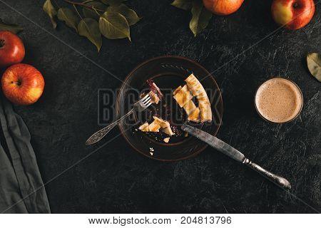 Cut Piece Of Apple Pie On Plate