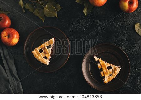 Pieces Of Apple Pie On Plates