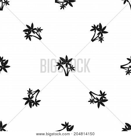 Three palm trees pattern repeat seamless in black color for any design. Vector geometric illustration