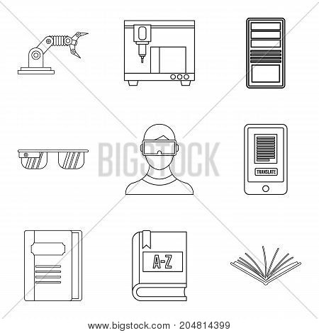 Printing device icons set. Outline set of 9 printing device vector icons for web isolated on white background