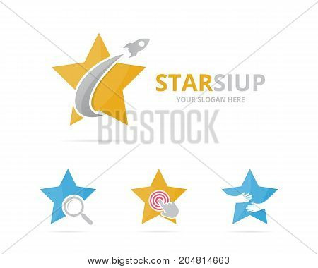 Set of star logo combination. Leader and airplane symbol or icon. Unique flight and team logotype design template.
