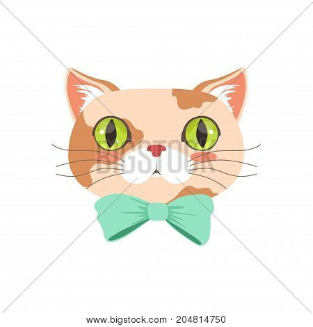 Cute cat wearing turquoise bow tie, funny cartoon animal character vector illustration isolated on a white background