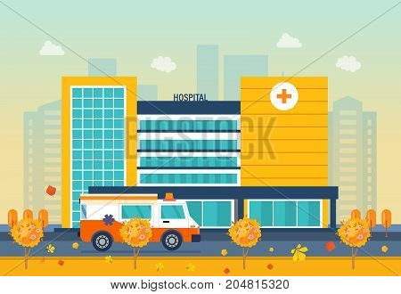 Autumn hospital building, healthcare system and medical facility. Clinic exterior, medical architecture hospital, landscape on background city. Vector illustration isolated.