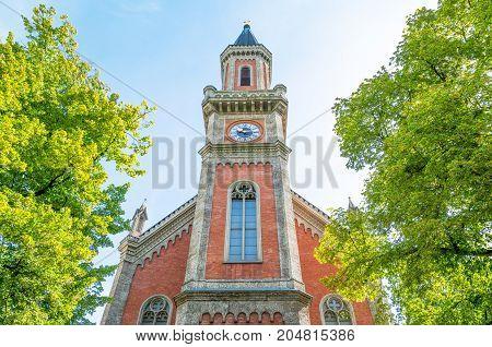 Austria Salzburg the facade of the Evangelical church on the Salzach river bank