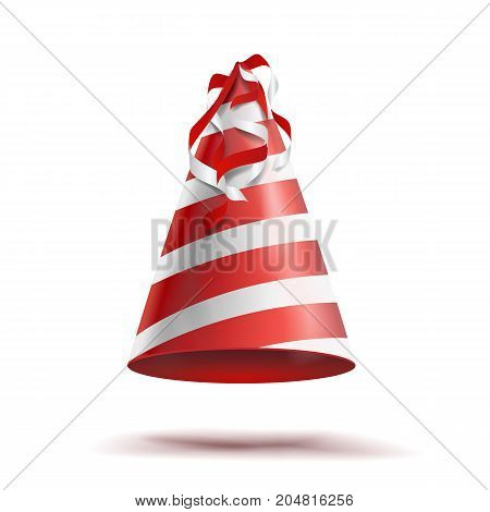Party Hat Vector. Classic Red, White Striped Craft Birthday Hat. Isolated Illustration